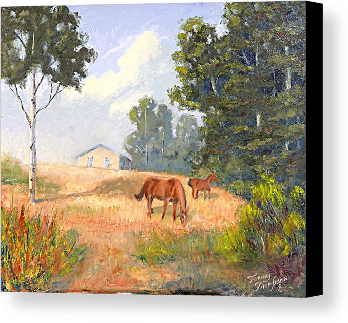 Landscape Canvas Print featuring the painting Mainely Grazing by Tommy Thompson
