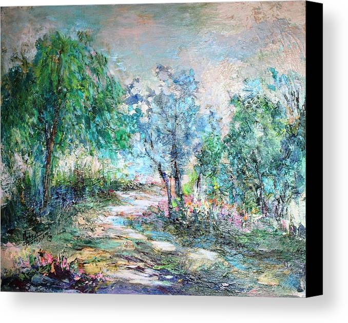 Trees Canvas Print featuring the painting Majestic by Mary Spyridon Thompson