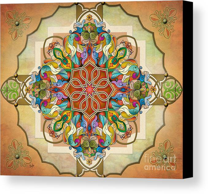 Mandala Canvas Print featuring the digital art Mandala Birds Sp by Bedros Awak