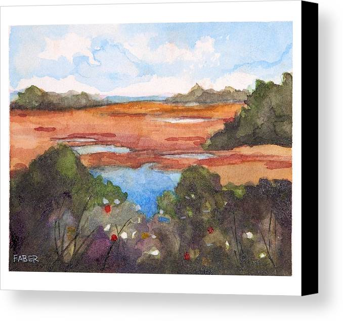 Marsh Canvas Print featuring the painting Midday Marsh by Dawn Faber