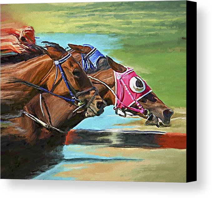Horses Canvas Print featuring the painting Nikita By A Head by David Wagner