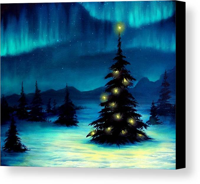 blue canvas print featuring the painting northern lights by erin scott