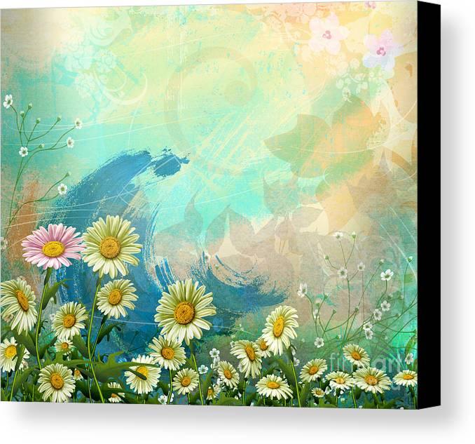 Daisy Canvas Print featuring the digital art One Pink Daisy by Bedros Awak