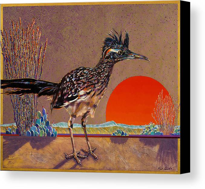 Bird Canvas Print featuring the painting Road Runner At Sundown by Bob Coonts