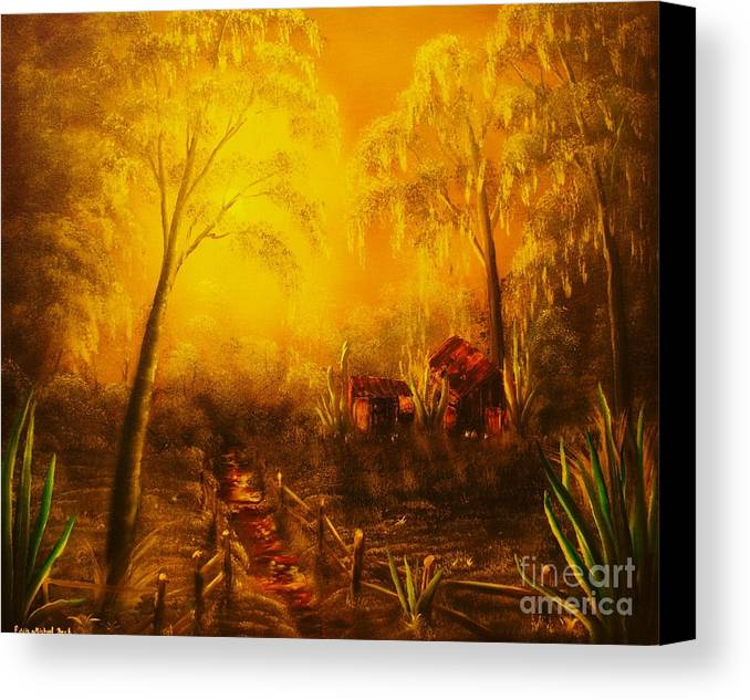 Landscape Canvas Print featuring the painting Southern Woods -original Sold- Buy Giclee Print Nr 36 Of Limited Edition Of 40 Prints  by Eddie Michael Beck