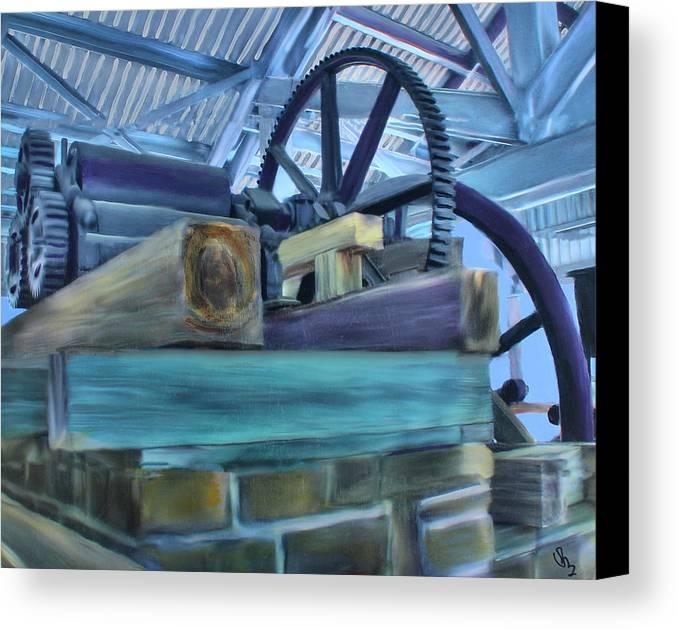 Sugar Mill Canvas Print featuring the mixed media Sugar Mill Gizmo by Deborah Boyd