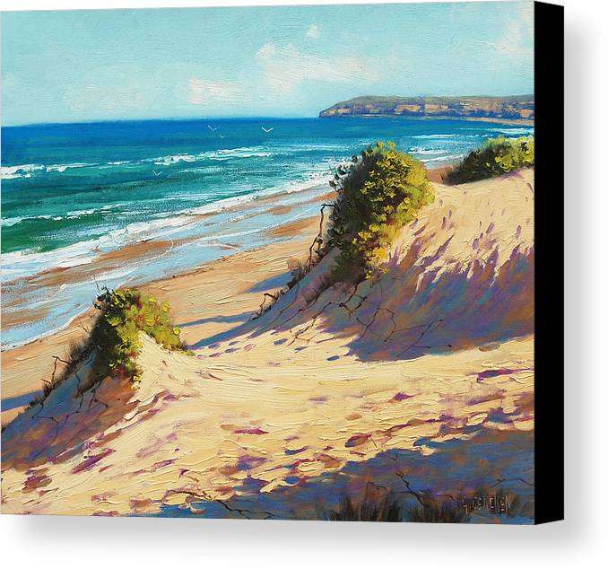 Seascape Canvas Print featuring the painting Summer Day The Entrance by Graham Gercken