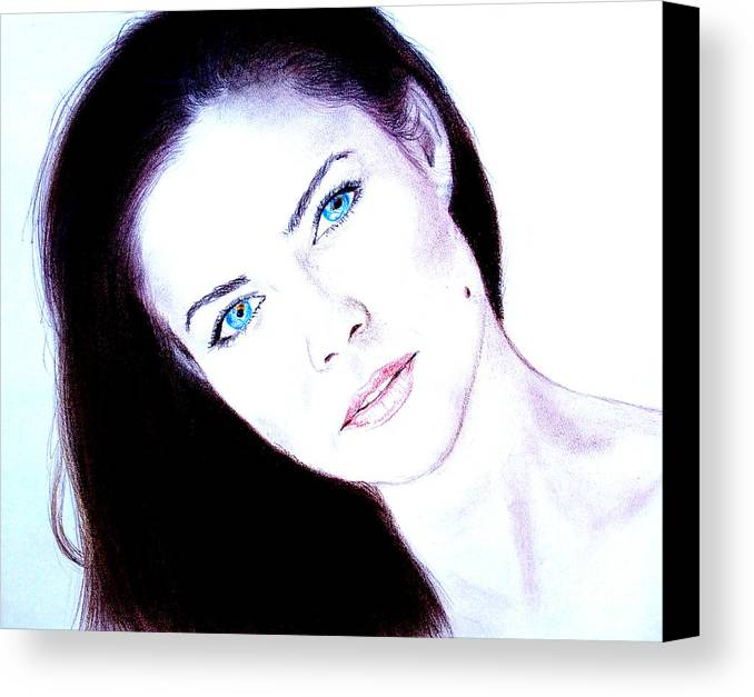 Model Canvas Print featuring the drawing Susan Ward Blue Eyed Beauty With A Mole II by Jim Fitzpatrick