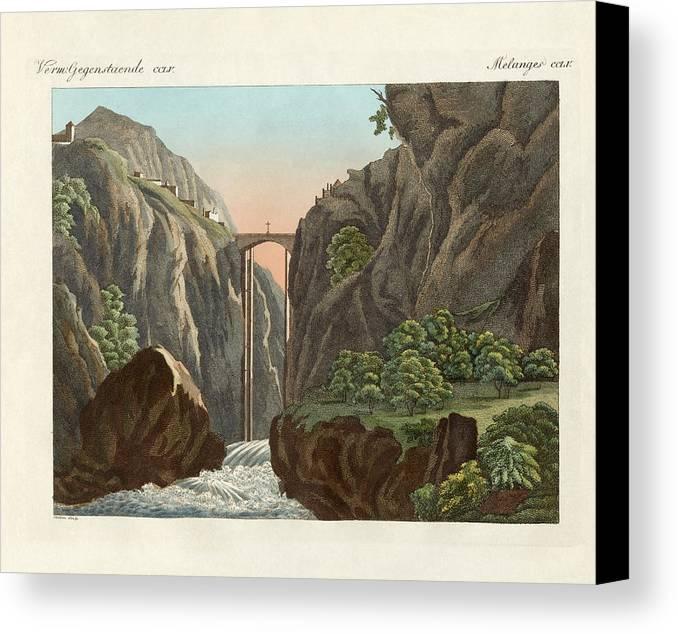 Bertuch Canvas Print featuring the drawing The Bridge To Ronda by Splendid Art Prints