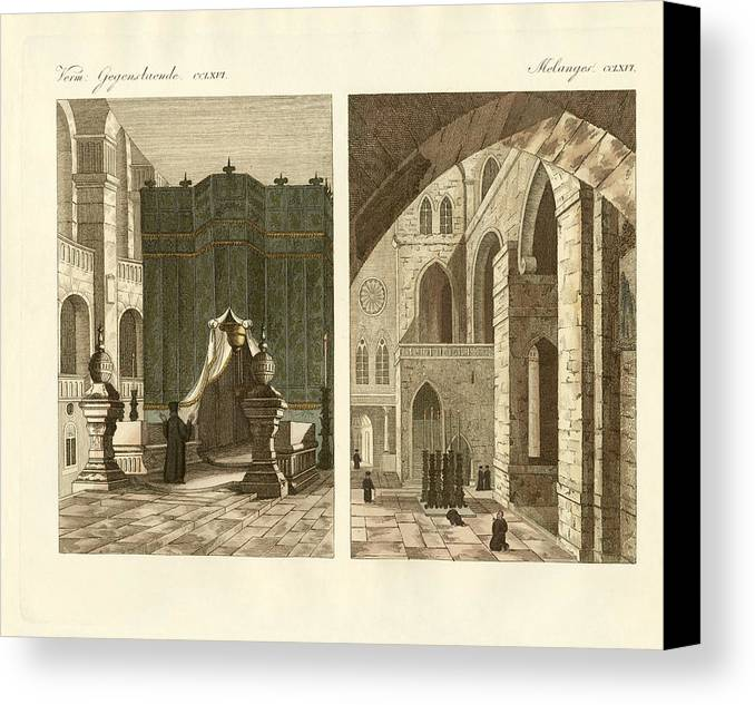 Bertuch Canvas Print featuring the drawing The Holy Sepulcher Of Jerusalem by Splendid Art Prints