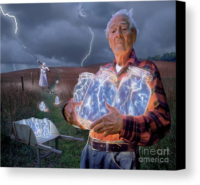 Lightning Canvas Print featuring the photograph The Lightning Catchers by Bryan Allen