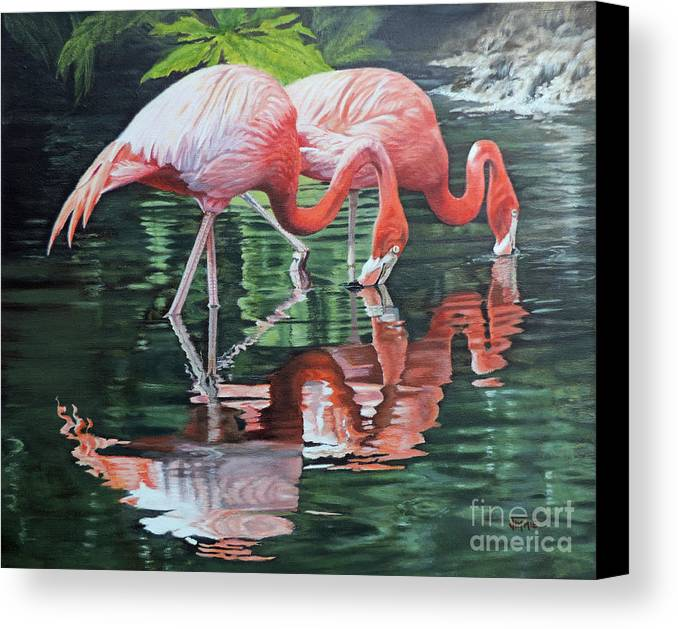 Flamingos Canvas Print featuring the painting Two Flamingos by Jimmie Bartlett