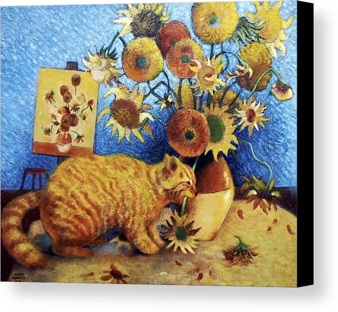 Cat Art Canvas Print featuring the painting Van Gogh's Bad Cat by Eve Riser Roberts