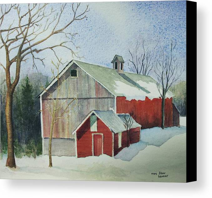 New England Canvas Print featuring the painting Williston Barn by Mary Ellen Mueller Legault