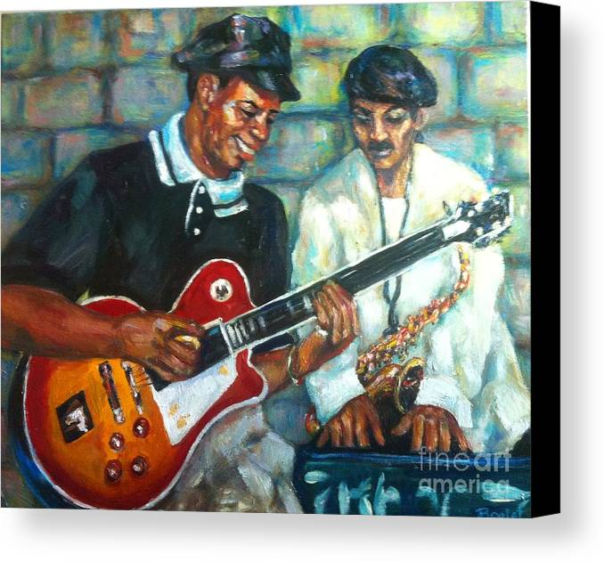 Guitar Canvas Print featuring the painting Wolfman by Beverly Boulet