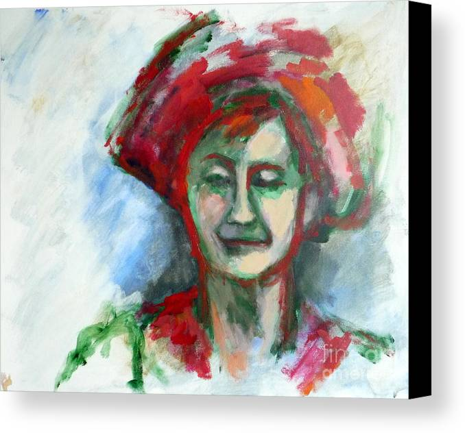 Acrylic Canvas Print featuring the painting Woman With A Hat - Anne Iv by Rodney Van den Beemd