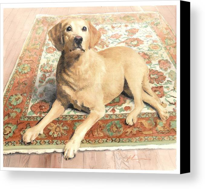 Miketheuer.com Yellow Lab On A Rug Watercolor Portrait Canvas Print featuring the drawing Yellow Lab On A Rug Watercolor Portrait by Mike Theuer