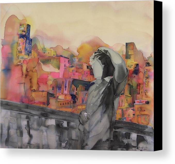 City. Landscape Canvas Print featuring the tapestry - textile Z And The City by Carolyn Doe