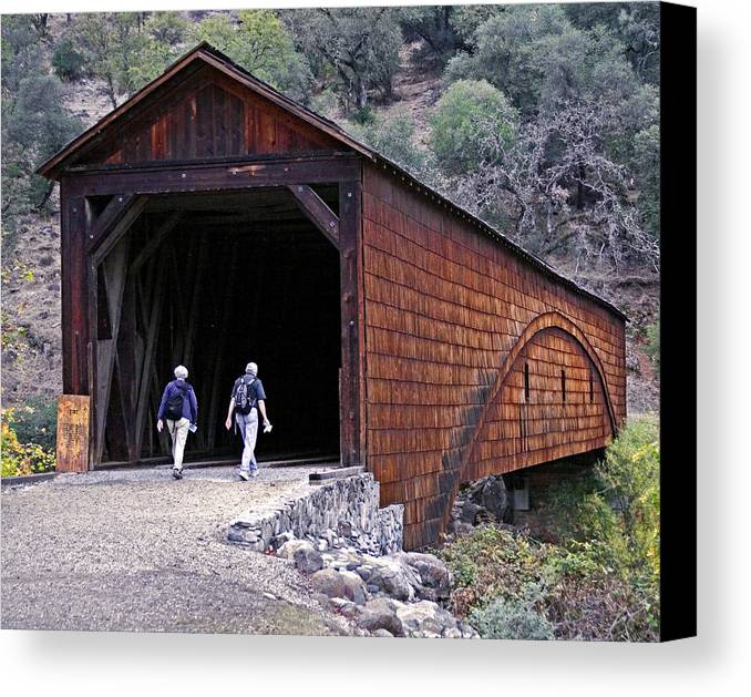 Bridge Canvas Print featuring the photograph Covered Bridge Walkers by BuffaloWorks Photography
