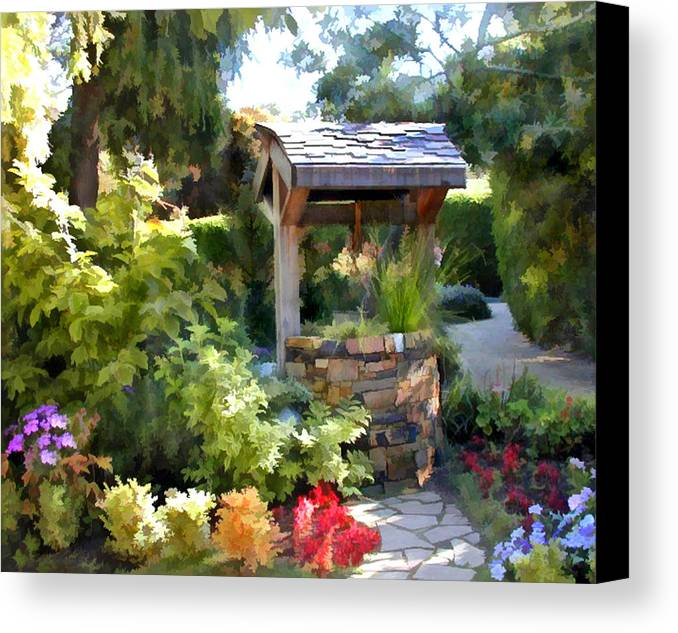 Canvas Print Featuring The Painting Garden Wishing Well By Elaine Plesser