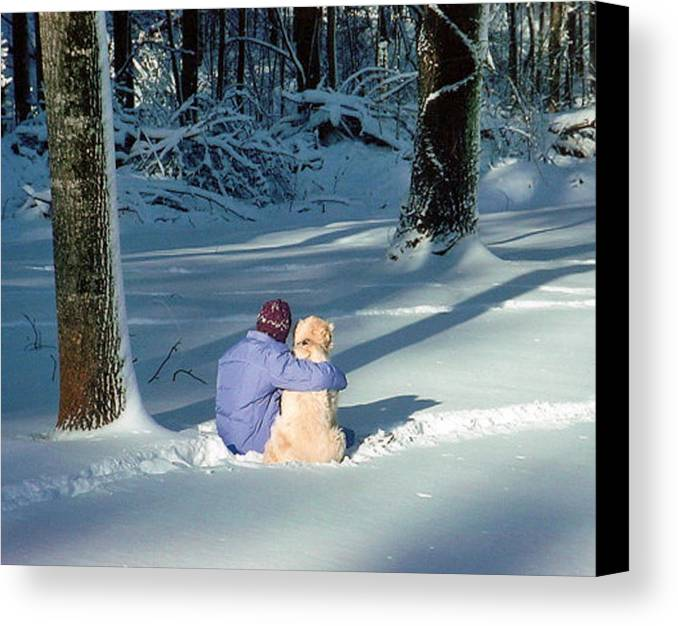 Snow Canvas Print featuring the photograph My Best Friend by Elisia Cosentino