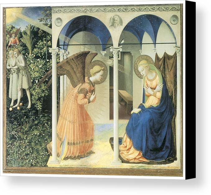 Fra Angelico Canvas Print featuring the painting The Annunciation by Fra Angelico
