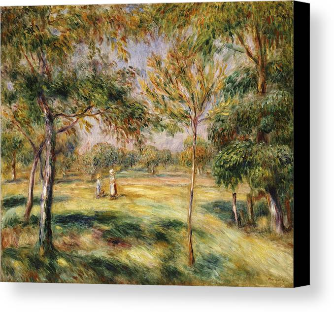 Impressionist; Impressionism; Countryside; Landscape; Tree Canvas Print featuring the painting The Glade by Pierre Auguste Renoir