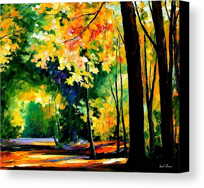 Landscape Canvas Print featuring the painting Forest by Leonid Afremov
