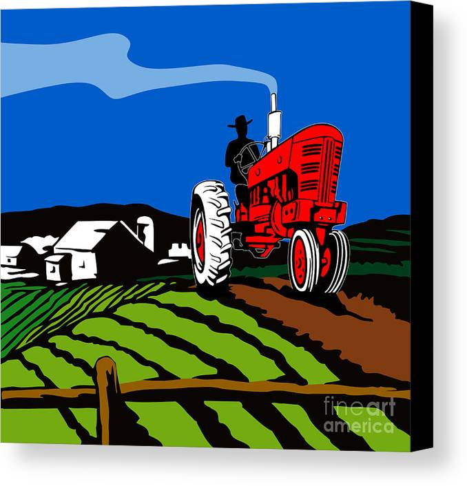 Tractor Canvas Print featuring the digital art Vintage Tractor Retro by Aloysius Patrimonio