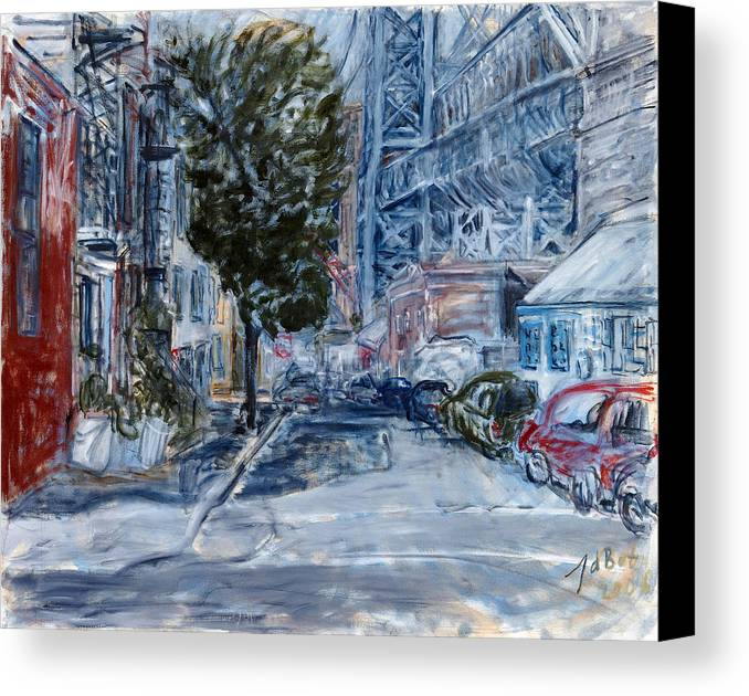 Cityscape Industrial Tree Cars Blue Grey Bridge Canvas Print featuring the painting Williamsburg2 by Joan De Bot