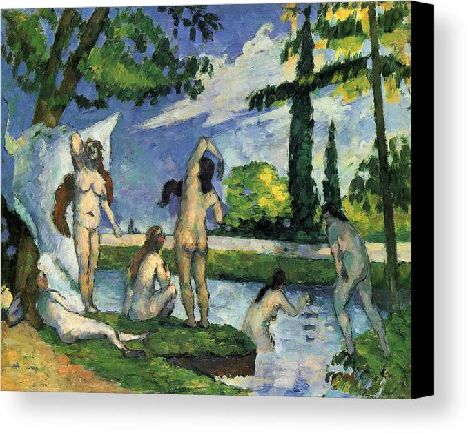 Bathers Canvas Print featuring the painting Bathers by Paul Cezanne