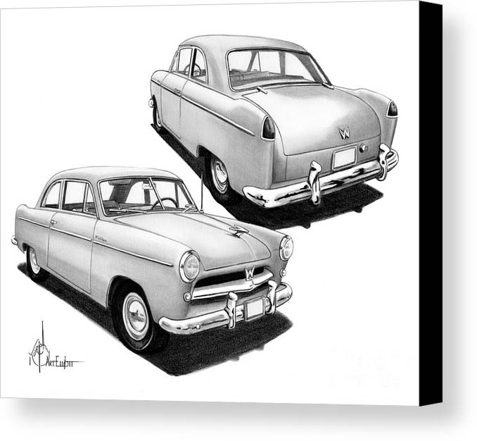 Pencil Canvas Print featuring the drawing 1952 Willys by Murphy Elliott