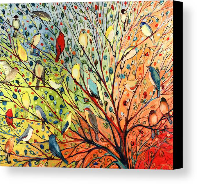 Bird Canvas Print featuring the painting 27 Birds by Jennifer Lommers