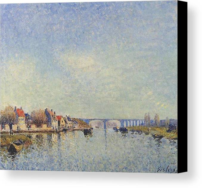 Banks Of The Loing At Saint-mammes Canvas Print featuring the painting Banks Of The Loing by MotionAge Designs