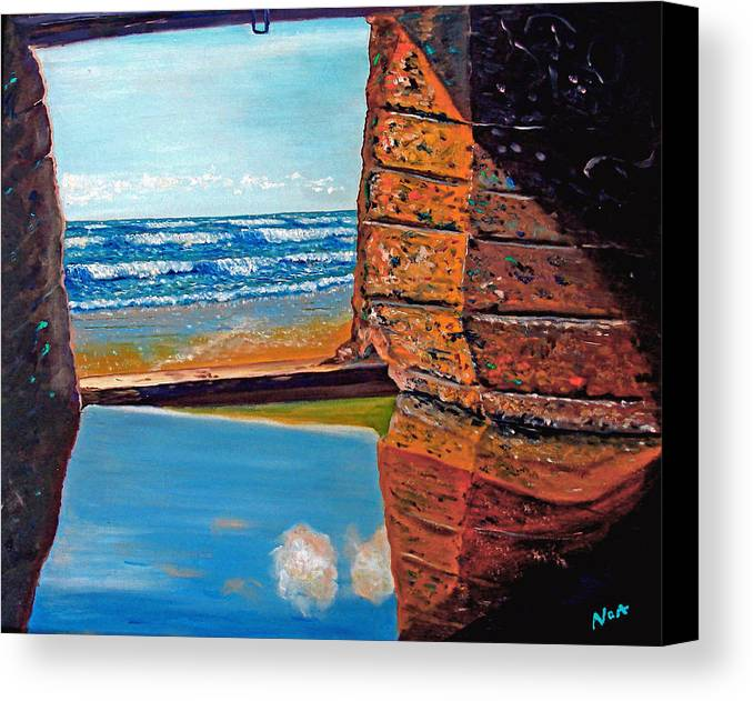 Seascape Canvas Print featuring the painting 60 Years After ...- 2000 by Aymeric NOA