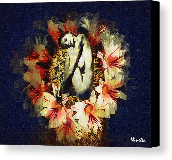 Nude Canvas Print featuring the digital art Above Flowers And Thorns II by Andrea N Hernandez