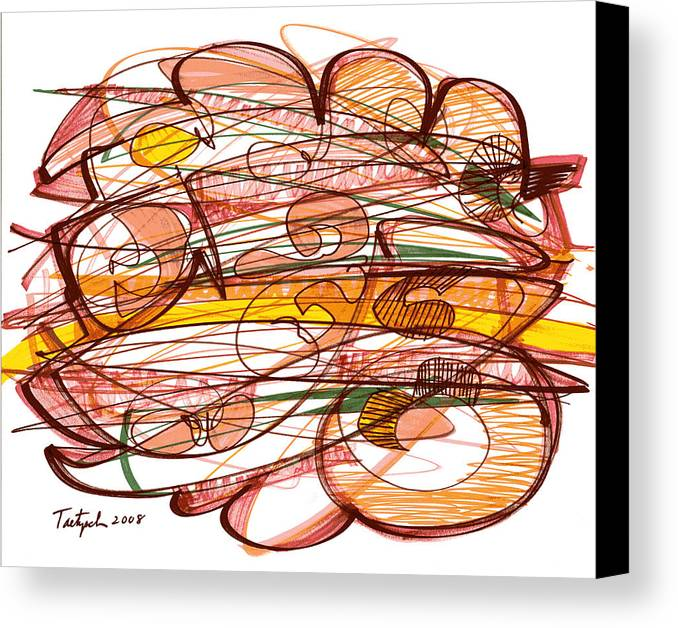 Abstract Art Canvas Print featuring the drawing Abstract Pen Drawing Eight by Lynne Taetzsch