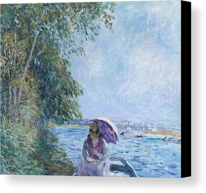 Boat At Veneux - Afternoon In September Canvas Print featuring the painting Afternoon In September by MotionAge Designs