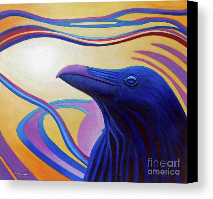 Raven Canvas Print featuring the painting Astral Raven by Brian Commerford