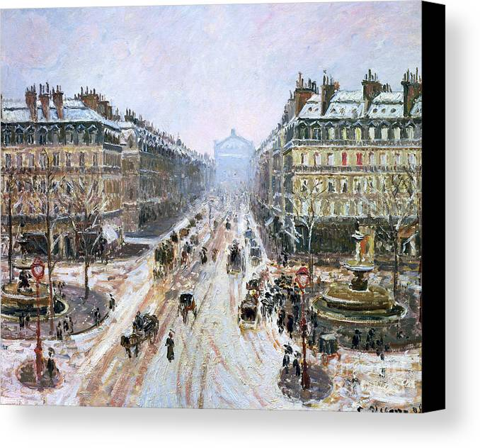Avenue Canvas Print featuring the painting Avenue De L'opera - Effect Of Snow by Camille Pissarro