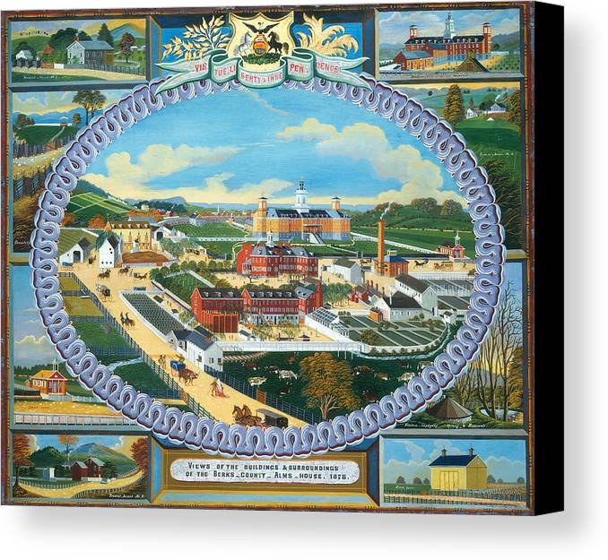 Painting Canvas Print featuring the painting Berks County Almshouse by Mountain Dreams