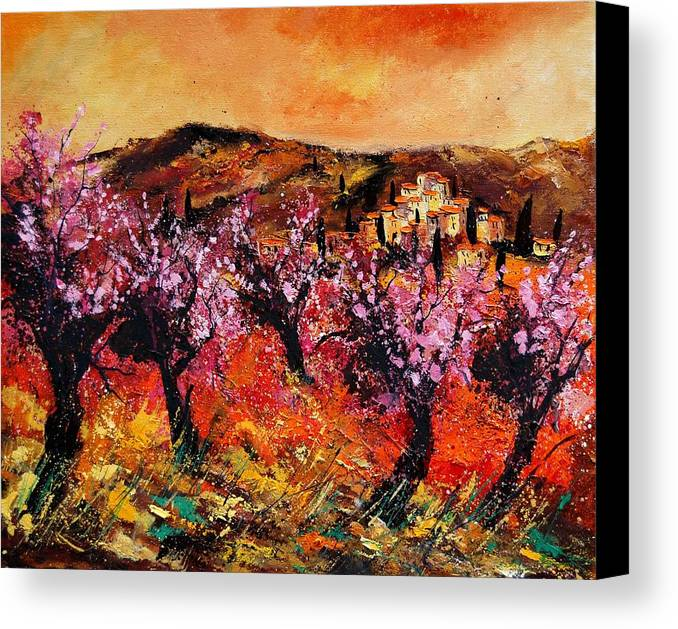 Provence Cherrytree Summer Spring Canvas Print featuring the painting Blooming Cherry Trees by Pol Ledent