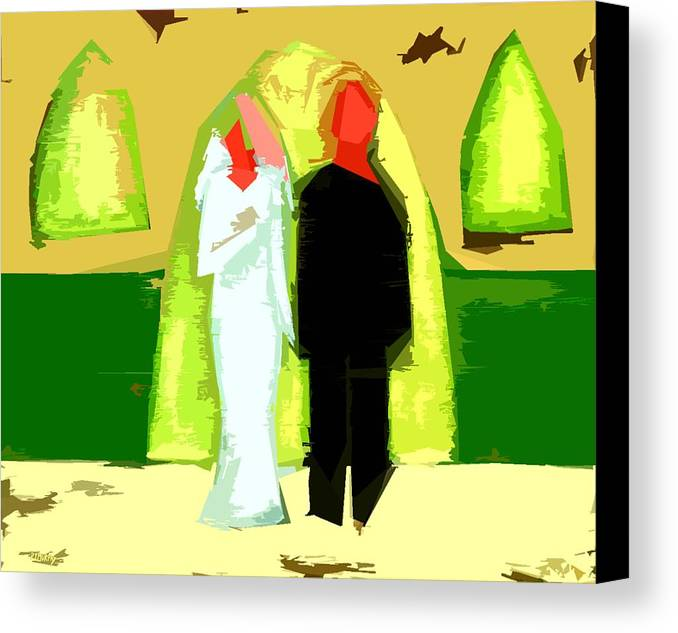 Wedding Canvas Print featuring the painting Blushing Bride And Groom 2 by Patrick J Murphy