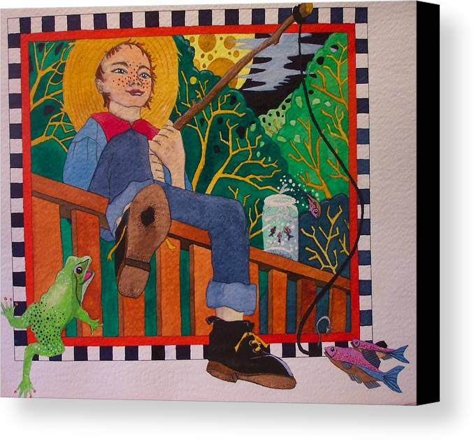 Children Canvas Print featuring the painting book illustration - Tom Sawyer by Victoria Heryet