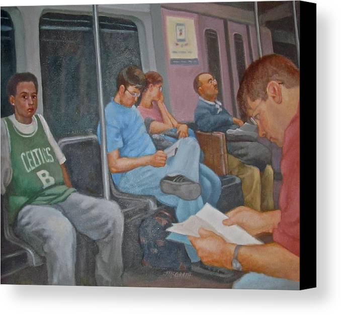 Boston Canvas Print featuring the painting Boston Subway by Janet McGrath