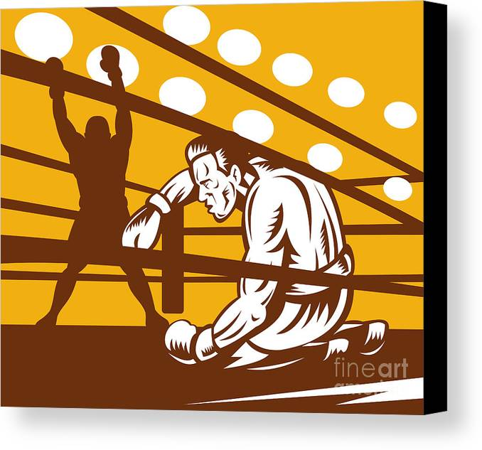 Boxing Canvas Print featuring the digital art Boxer Down On His Hunches by Aloysius Patrimonio