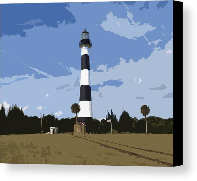Cape Canvas Print featuring the painting Cape Canaveral Light by Allan Hughes