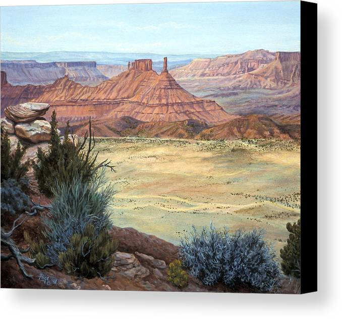 Landscape Canvas Print featuring the painting Castle Rock Iv by Page Holland
