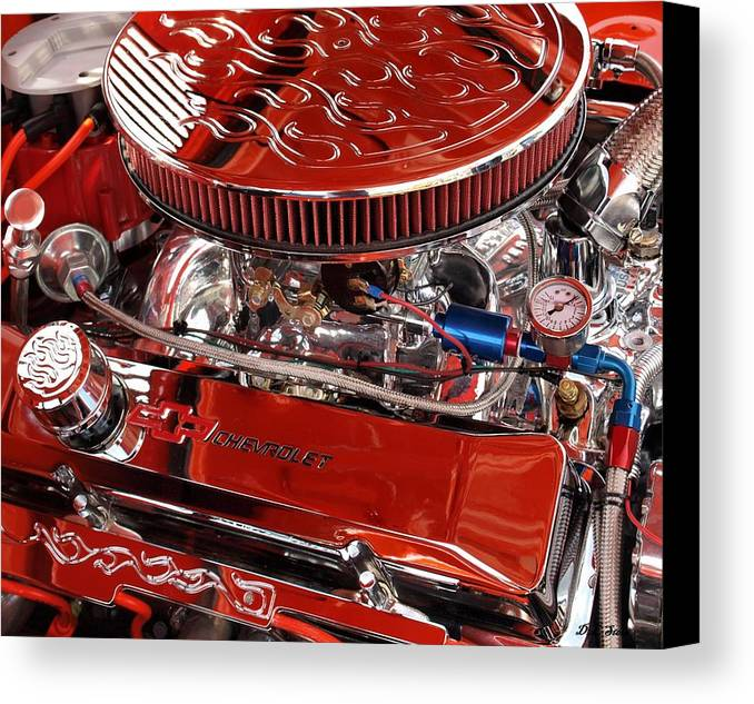 Chevrolet Canvas Print featuring the photograph Classic Chevrolet Engine by Dennis Stein