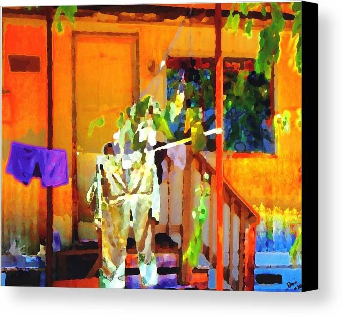 Canvas Print featuring the digital art Clothesline by Danielle Stephenson